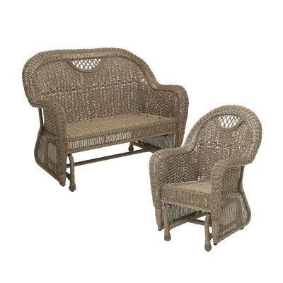 Prospect Hill Outdoor Wicker 2 Piece Glider Seating Group Finish: Driftwood