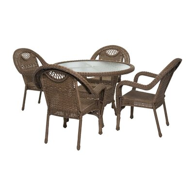 Prospect Hill Outdoor Wicker 5 Piece Dining Set Finish: Beach House Walnut