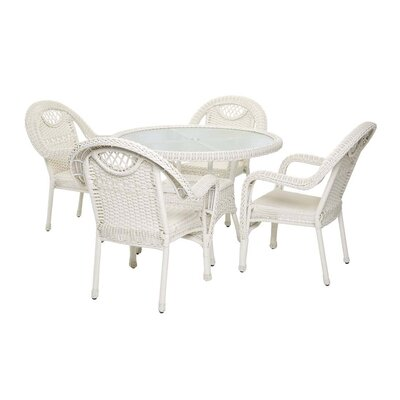 Prospect Hill Outdoor Wicker 7 Piece Dining Set Finish: Cloud White