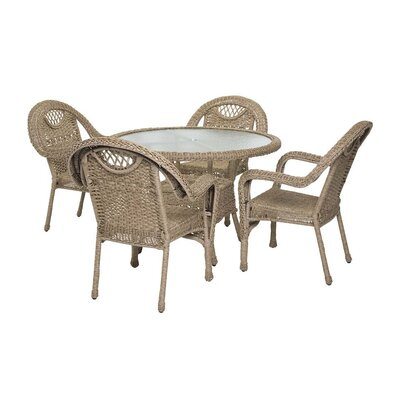 Prospect Hill Outdoor Wicker 7 Piece Dining Set Finish: Driftwood