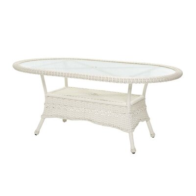 Prospect Hill Oval Outdoor Wicker Dining Table Finish: Cloud White