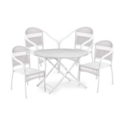 Tangier Wicker 5 Piece Dining Set Color: White