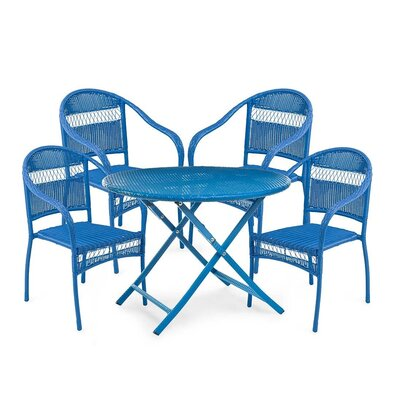 Tangier Wicker 5 Piece Dining Set Color: Blue