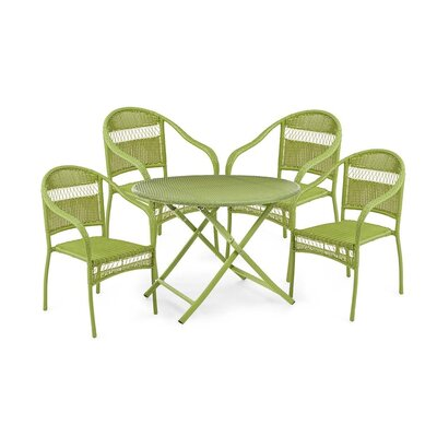 Tangier Wicker 5 Piece Dining Set Color: Lime