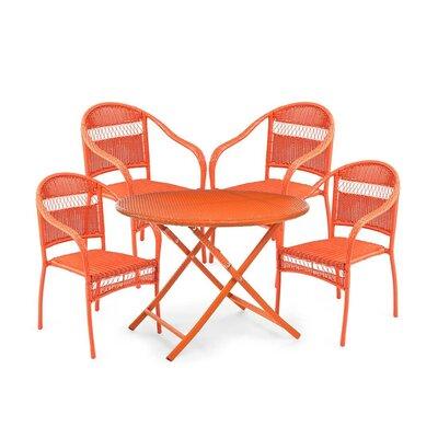Tangier Wicker 5 Piece Dining Set Color: Orange