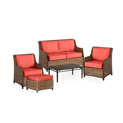 Highland Wicker 5 Piece Rattan Conversation Set with Cushions Color: Coral