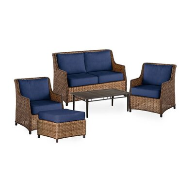 Highland Wicker 5 Piece Rattan Conversation Set with Cushions Color: Midnight Blue