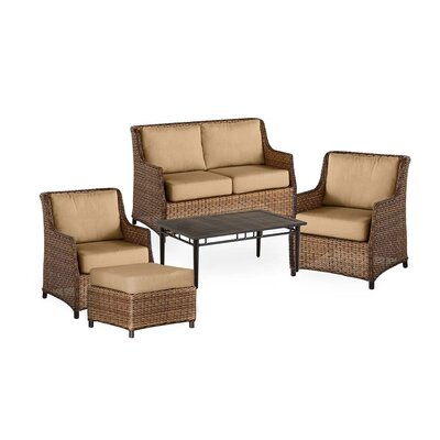 Highland Wicker 5 Piece Rattan Conversation Set with Cushions Color: Sand