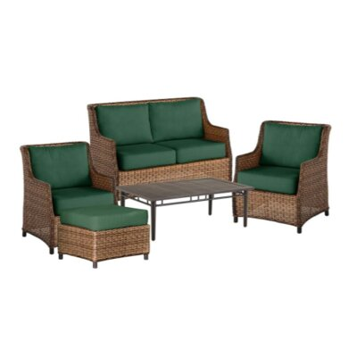 Highland Wicker 5 Piece Rattan Conversation Set with Cushions Color: Pine Green