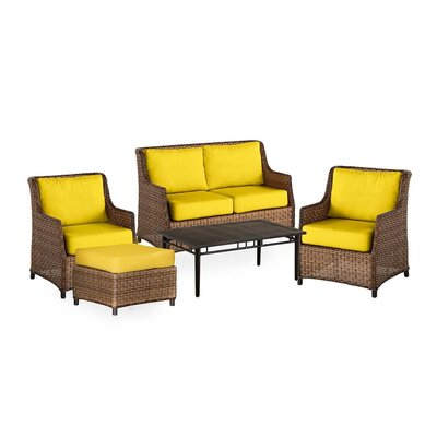 Highland Wicker 5 Piece Rattan Conversation Set with Cushions Color: Sunshine Yellow
