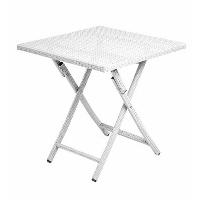 Tangier Folding Wicker Side Table Color: White