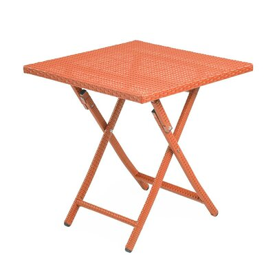 Tangier Folding Wicker Side Table Color: Orange