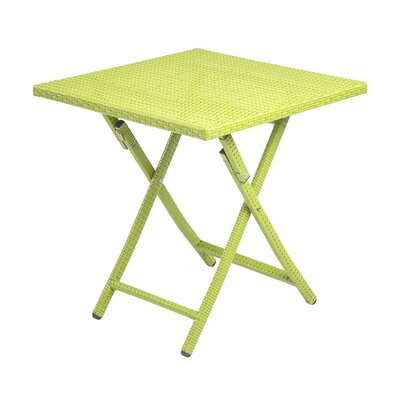 Tangier Folding Wicker Side Table Color: Lime