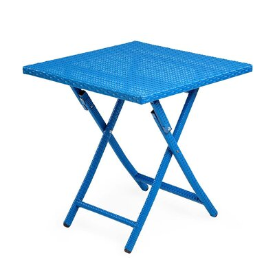 Tangier Folding Wicker Side Table Color: Blue