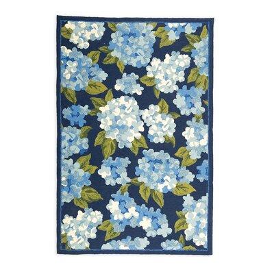 Hydrangeas Hand Hooked Blue Indoor/Outdoor Area Rug Size: 35 x 55