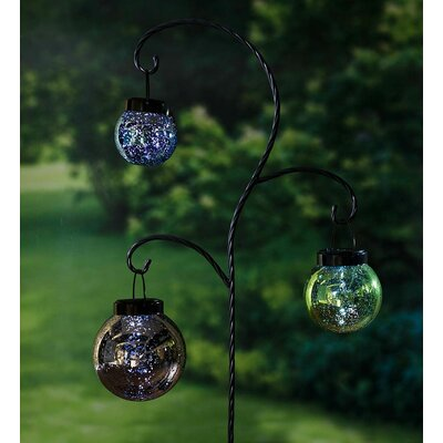 Hanging Mercury Glass Solar Lanterns 3 Piece Garden Stake Set 55046