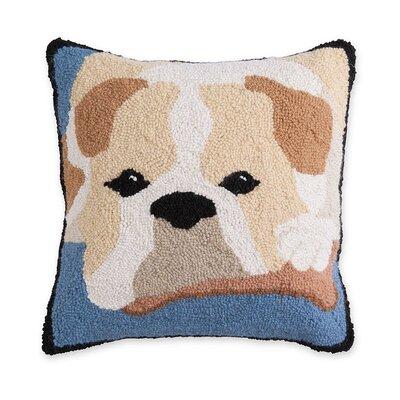 Hooked Wool Bulldog Throw Pillow