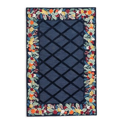 Colonial Fruit Wreath Hand-Hooked/Tufted Wool Blue Area Rug Rug Size: Rectangle 8 x 10