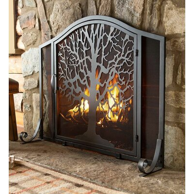 Tree of Life Metal Fireplace Screen 66A24 BK