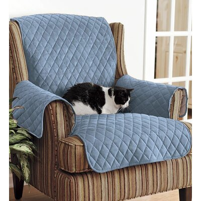 T-Cushion Loveseat Slipcover Upholstery: Blue