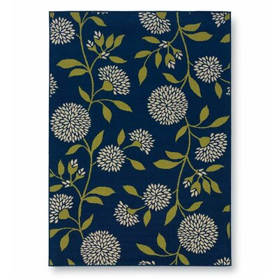 Floral Surry Rug Blue Indoor/Outdoor Area Rug Rug Size: Rectangle 358 x 55