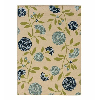 Floral Surry Rug Ivory Indoor/Outdoor Area Rug Rug Size: Rectangle 358 x 55