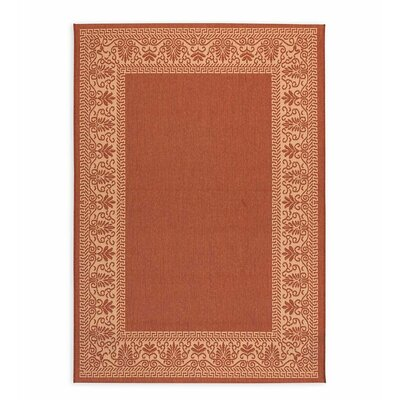 Scroll Terra Cotta Indoor/Outdoor Area Rug Rug Size: Rectangle 39 x 55