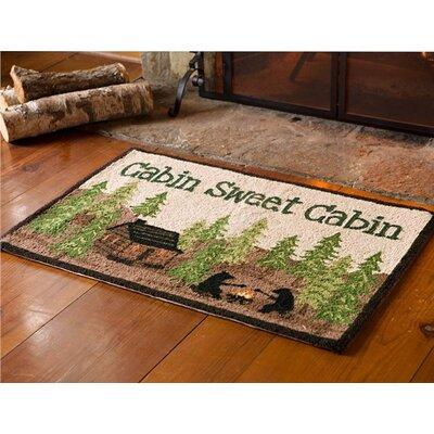 Cabin Sweet Cabin Wool Green/Brown Area Rug