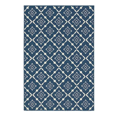 Lexington Trellis Navy Indoor/Outdoor Area Rug Rug Size: 53 x 76