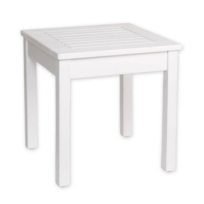 Slatted Wood End Table Color: White