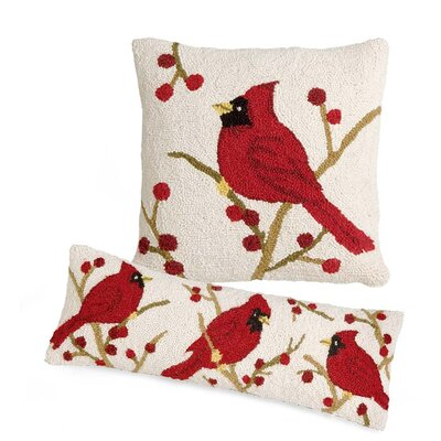 2 Piece Cardinal Outdoor Wool Pillow Set