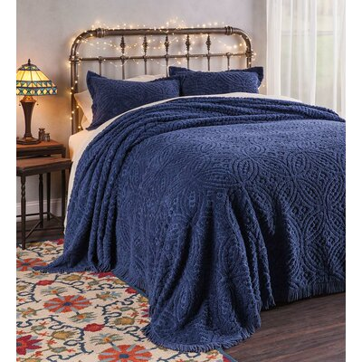 Wedding Ring Tufted Chenille Sham Color: Blue