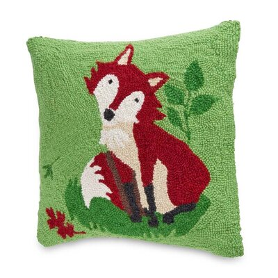 Hand Hooked Woodland Friends Fox Wool Throw Pillow