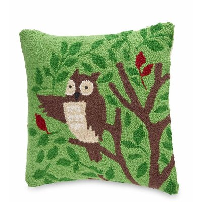 Hand Hooked Woodland Friends Owl Wool Throw Pillow