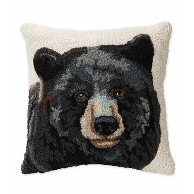 Bear Hand-Hooked Wool Throw Pillow
