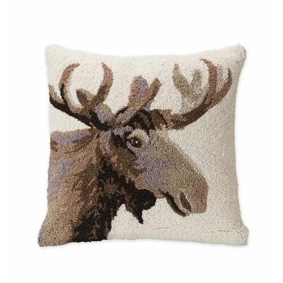 Moose Hand-Hooked Wool Throw Pillow