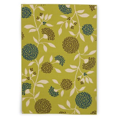 Round Floral Surry Green Area Rug