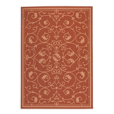 Veranda Scroll Terra Cotta Indoor/Outdoor Area Rug