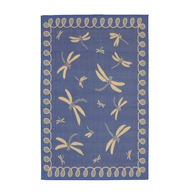 Dragonflies Marine Blue Indoor/Outdoor Area Rug