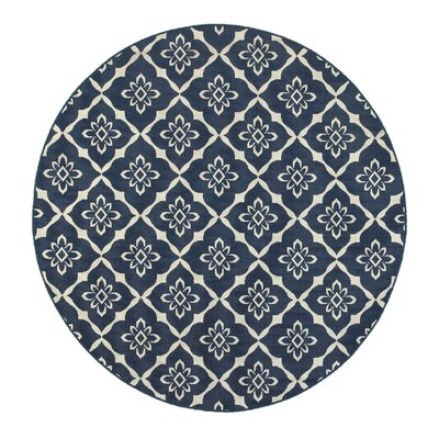 Lexington Trellis Navy Area Rug Rug Size: Round 710