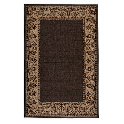 Veranda Border Black Indoor/Outdoor Area Rug Rug Size: 76 x 109