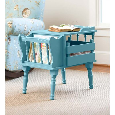 Magazine End Table with Removable Storage Boxes Color: Light Blue