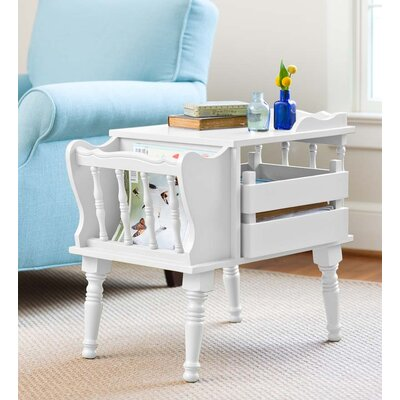 Magazine End Table with Removable Storage Boxes Color: White