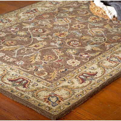 McLean Hand-Tufted Wool Brown/Yellow Area Rug Rug Size: 36 x 56