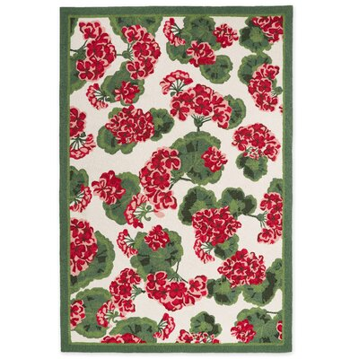 Geranium Red/Green Area Rug Rug Size: 26 x 4