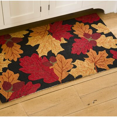 Falling Leaves Hand Hooked Orange/Red Indoor/Outdoor Area Rug