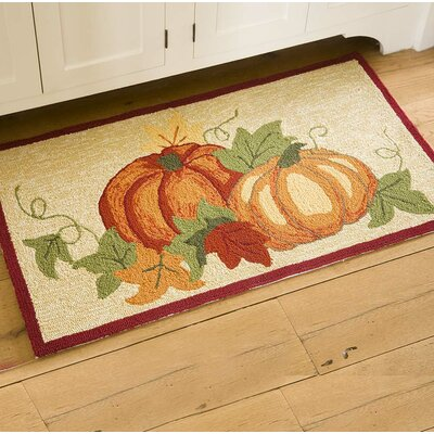 Pumpkins Hand Hooked Orange/Beige Indoor/Outdoor Area Rug