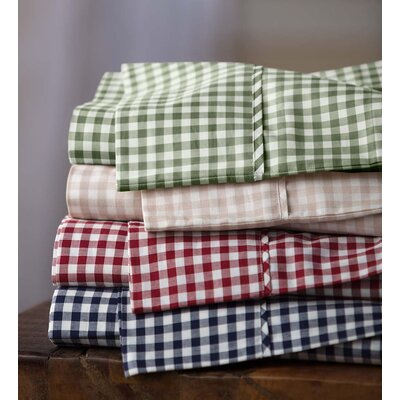 Gingham 200 Thread Count 100% Cotton Percale Sheet Set