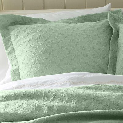 Marie Matelasse Stonewashed Standard Sham Size: King, Color: Green