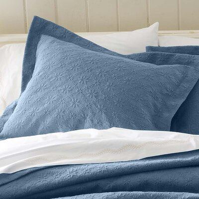Marie Matelasse Stonewashed Standard Sham Size: King, Color: Blue